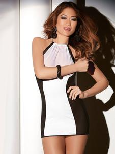 Image of Vestito da discoteca bianco bicolore sexy in tulle abito senza maniche