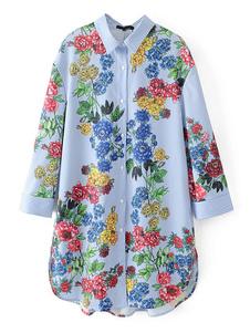 Camicia fantasia floreale blu cotone con stampe con colletto manica per camicia maniche lunghe da viaggio