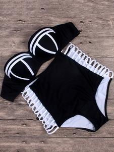 Attrayant maillot de bain 2 pièces de plage en acrylique creusé bustier pour adultes