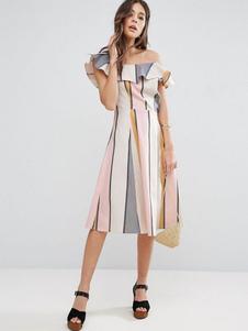 Image of Abito plissettato a strisce bianco donna asimmetrico maniche corte abbigliamento giornaliero cotone misto