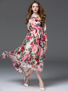 Image of Abito lungo in chiffon maniche lunghe con scollo tondo stampa floreale abbigliamento giornaliero con annodature