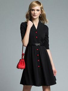 Sexy Robe de Soirée avec bouton noire mode unicolore