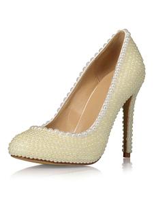 Image of Scarpe Da Nozze Abiti Da Sposa Perle Perle In Pelle Perline Per Le Donne