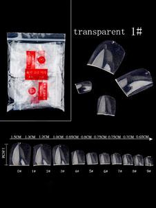 Image of Faux Nail Set Nail Art punte trasparenti con punte complete di punta con adesivo a colla
