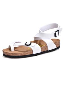 Image of Scarpe da sandalo rigonfiato da donna a righe bianche in pelle bianca