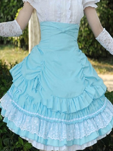 Image of Rococo Lolita Gonna SK Cotone Pizzo Patch Nastri Layered Ruffles Pieghettato A Linea Lolita Gonna