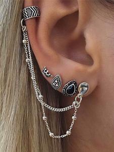 Image of Boho Ear Cuff Etniche Style Argento Catene Grigio in rilievo Lega Orecchini Pierced