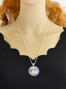 Vintage Pendant Necklace Rhinestones Blue Round Fresco Print Women`s Alloy Necklace