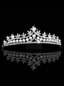 Image of Copricapo argento corona il giorno del fidanzamento tiara in leg