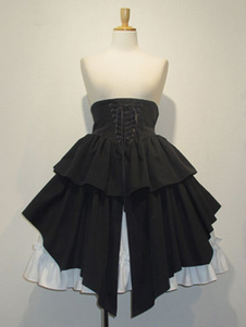Image of Gonna gotica Lolita SK cotone merletti in su Ruffles pieghettato Nero Lolita Gonna