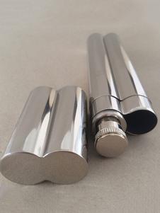 Image of Argento Cigar Tube personalizzato Twin Tube in acciaio inossidabile Rappresentato regalo pratico del partito