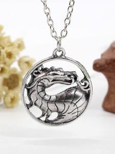 Image of La catena d'argento della catena di drago scava fuori la collana del pendente per gli uomini