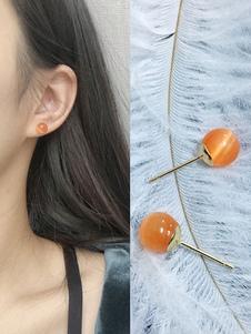 Image of Orecchini bucato semplici in lega d'acciaio arancioni intorno chiodo donna