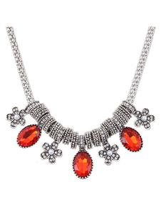 Red Pendant Necklace Women`s Rhinestones Short Necklace
