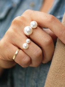 Image of Anello con perle sintetiche anello oro argento chic festa in lega d'acciaio intorno rotondo