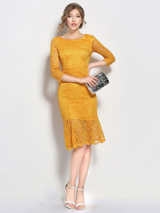 Abiti in pizzo gialli donna mezze maniche con scollo tondo di pizzo increspato modellanti