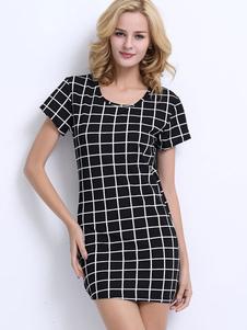 Image of Vestito corto dal manicotto del manicotto del bicchierino del manicotto del mini vestito nero per le donne