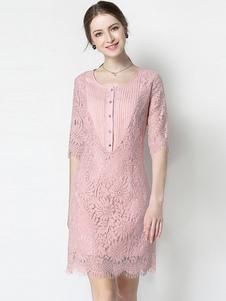 Abito in pizzo donna di pizzo rosa mezze maniche con scollo tondo abbigliamento giornaliero