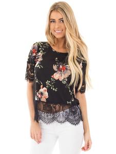 Image of Camicia fantasia floreale nera cotone misto stampa floreale con scollo tondo maniche corte casuale
