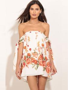 Robe d'été blanche en polyester imprimé fleurie avec lacets bustier