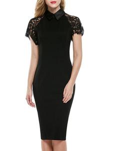Image of Vestiti estivi delle donne del manicotto del manicotto del merletto del collare del turndown del vestito dal Bodycon nero