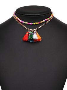 Image of Collana ora in lega d'acciaio bohemien perline collana donna