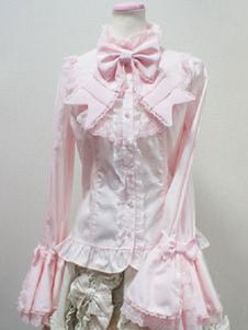 Image of Camicetta Lolita stile di Rococò monocolore a pieghe pieghettature maniche lunghe con colletto alla coreana