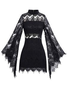 Image of Vestito in pizzo nero di pizzo con collo alto maniche lunghe cerniera donna