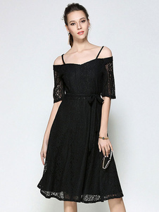 Image of Vestito in pizzo nero di pizzo bretelle mezze maniche cintura donna per adulti