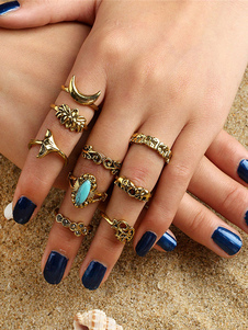 Golden Knuckle Boho gemas Jewelled Hollow