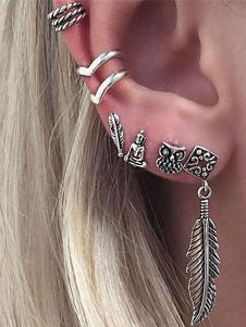 Image of Orecchini di moda bucato chic & moderni in lega d'acciaio argenti con decori in rilievo foglie cerchio donna