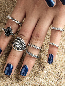 Boho Knuckle Anillos Gems Jeweled Hollow