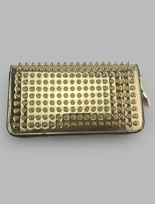 Image of Gold Women's Wallet Genuine Leather Accordion Zip Rivet Clutch