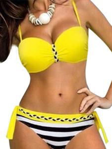 Image of Bikini sexy 2-Pezzi spalline regolabili a strisce con annodature con spalline sottili smanicato acrilico
