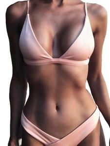 Image of Bikini sexy tradizionale con spalline sottili smanicato spalline regolabili semplice monocolore acrilico
