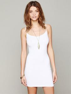 Image of Vestito corto per ragazze monocolore bretelle smanicato di poliestere casuale