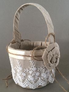 Cesta de damitas De algodón y lina Color de lino con flor estilo moderno