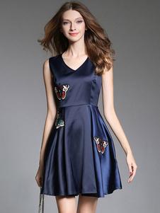 Abito Blu Skater Dress Donna V Neck senza maniche Farfalle ricamato abito corto pieghettato