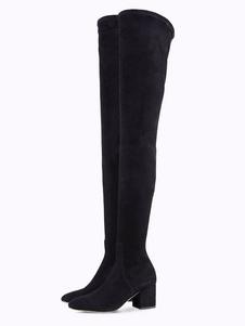 Image of Stivali sopra al ginocchio neri tacco largo monocolore zip con ubo sotto il ginocchio