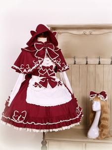 Rococo Lolita JSK Jumer Gonna Bows Manica Lunga Collare Capo Avena A Linea Borgogna Lolita Abiti