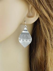 Image of Orecchini di moda bucato chic & moderni in lega d'acciaio argenti con decori in rilievo orecchini pendenti donna