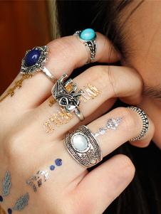Image of Anello gemma anello argento vintage crociera in lega d'acciaio a