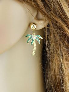 Image of Orecchini di moda bucato chic & moderni in lega d'acciaio verdi con decori in rilievo orecchini pendenti donna