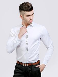Image of Camicia bianca casuale Camicia da uomo stampata a maniche lunghe con colletto a turndown