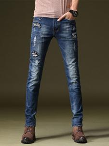 Image of Jeans uomo in denim blu jeans lungi dritti con logo casuale