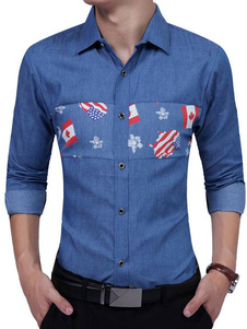 Image of Camicia blu profondo camicia manica lunga con colletto in turndown stampato camicia casuale dimagrente per gli uomini