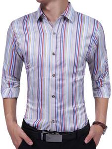 Image of Camicia bianca casual Camicia a maniche lunghe a righe con colletto a turndown