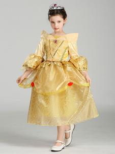 Belleza y la bestia Disney Princess Bell Halloween Halloween Traje de Tulle vestido de oro Halloween