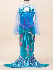 Disfraz de Niños de sirena azul europeo con estampado de flores con vestido  Halloween