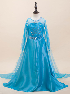 Image of Costume da bambini Carnevale Costume ghiacciato principessa Elsa Tulle Blue Cosplay Dress Carnevale